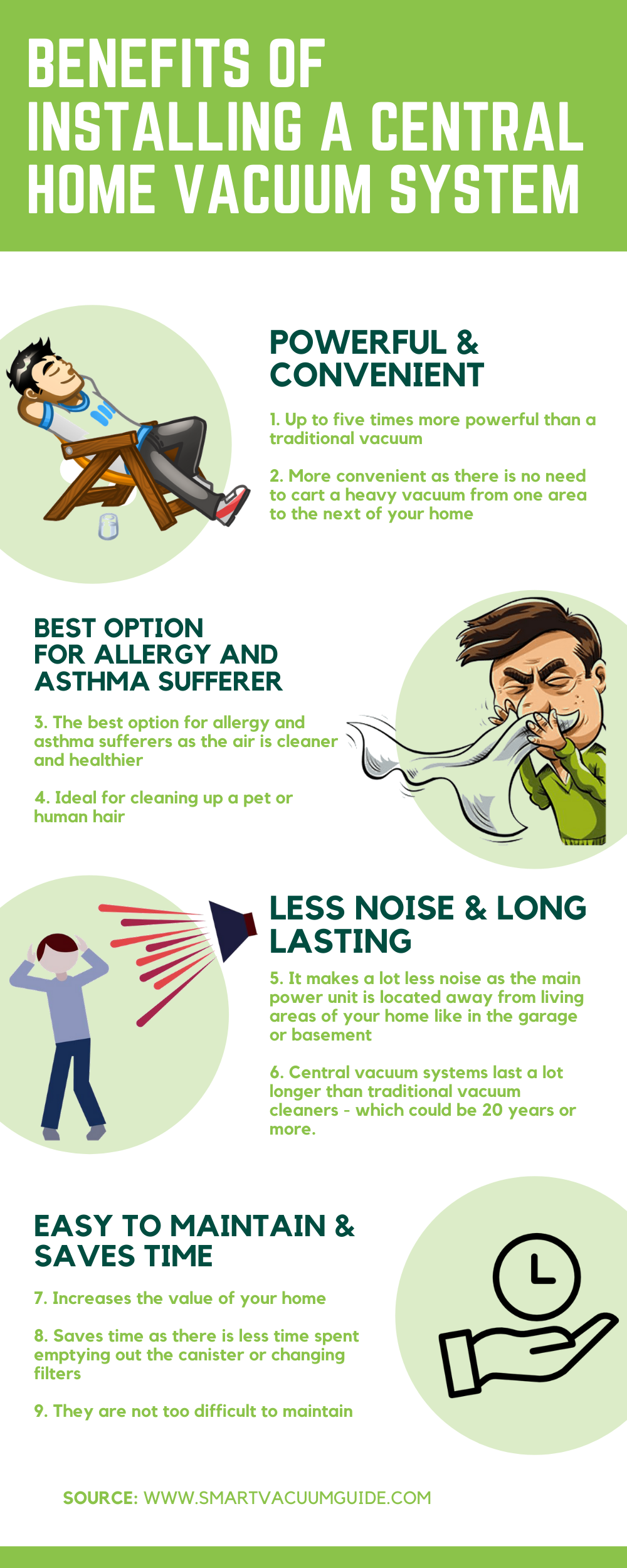 Infographic Benefits of installing a central home vacuum system